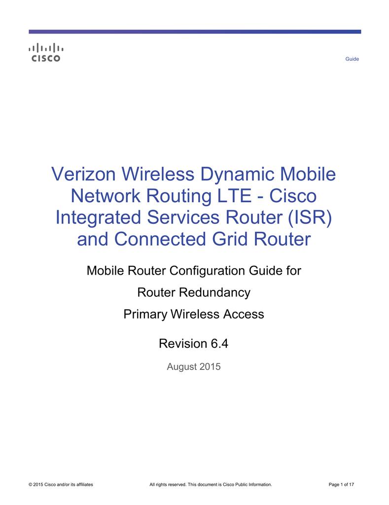 Verizon Wireless Dynamic Mobile Network Routing Lte Cisco Home Diagram