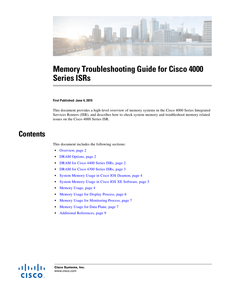 Memory Troubleshooting Guide for Cisco 4000 Series ISRs