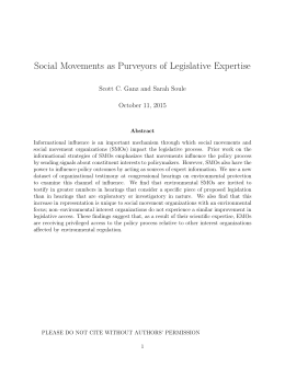 Social Movements as Purveyors of Legislative Expertise October 11, 2015