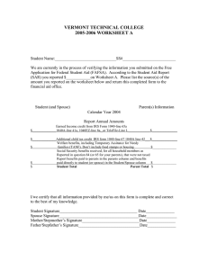 VERMONT TECHNICAL COLLEGE 2005-2006 WORKSHEET A