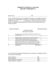 VERMONT TECHNICAL COLLEGE 2006-2007 WORKSHEET A