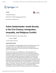 12/16/2015 Calvin Goldscheider: Israeli Society in the 21st Century: Immigration, Inequality,...