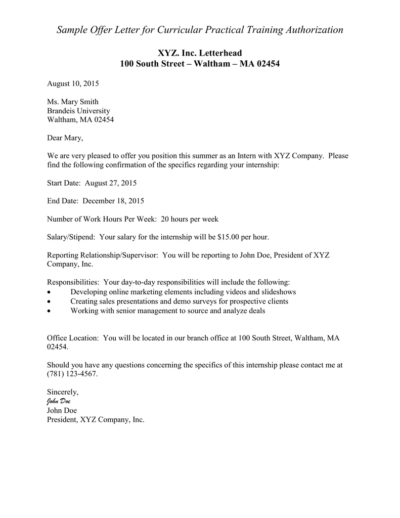 Sample offer letter for curricular practical training authorization sample offer letter for curricular practical training authorization xyz inc letterhead altavistaventures Gallery