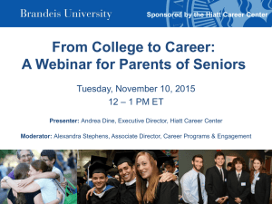 From College to Career: A Webinar for Parents of Seniors