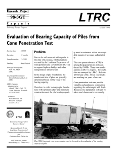 LTRC Evaluation of Bearing Capacity of Piles from Cone Penetration Test 98-3GT