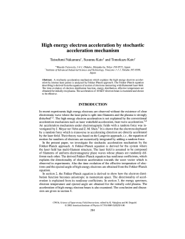 High energy electron acceleration by stochastic acceleration mechanism Tatsufumi Nakamura*, Susumu Kato