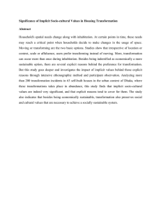 Significance of Implicit Socio-cultural Values in Housing Transformation Abstract
