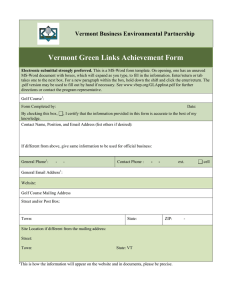 Vermont Green Links Achievement Form Vermont Business Environmental Partnership