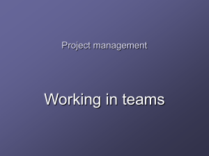 Working in teams Project management