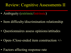 Review: Cognitive Assessments II