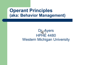 Operant Principles (aka: Behavior Management) Dr. Ayers HPHE 4480