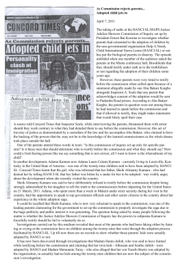 As Commission rejects parents... Adopted child jets in  April 7, 2011