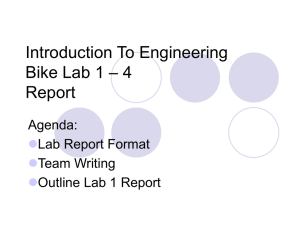 Introduction To Engineering – 4 Bike Lab 1 Report