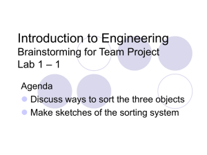 Introduction to Engineering Brainstorming for Team Project – 1 Lab 1