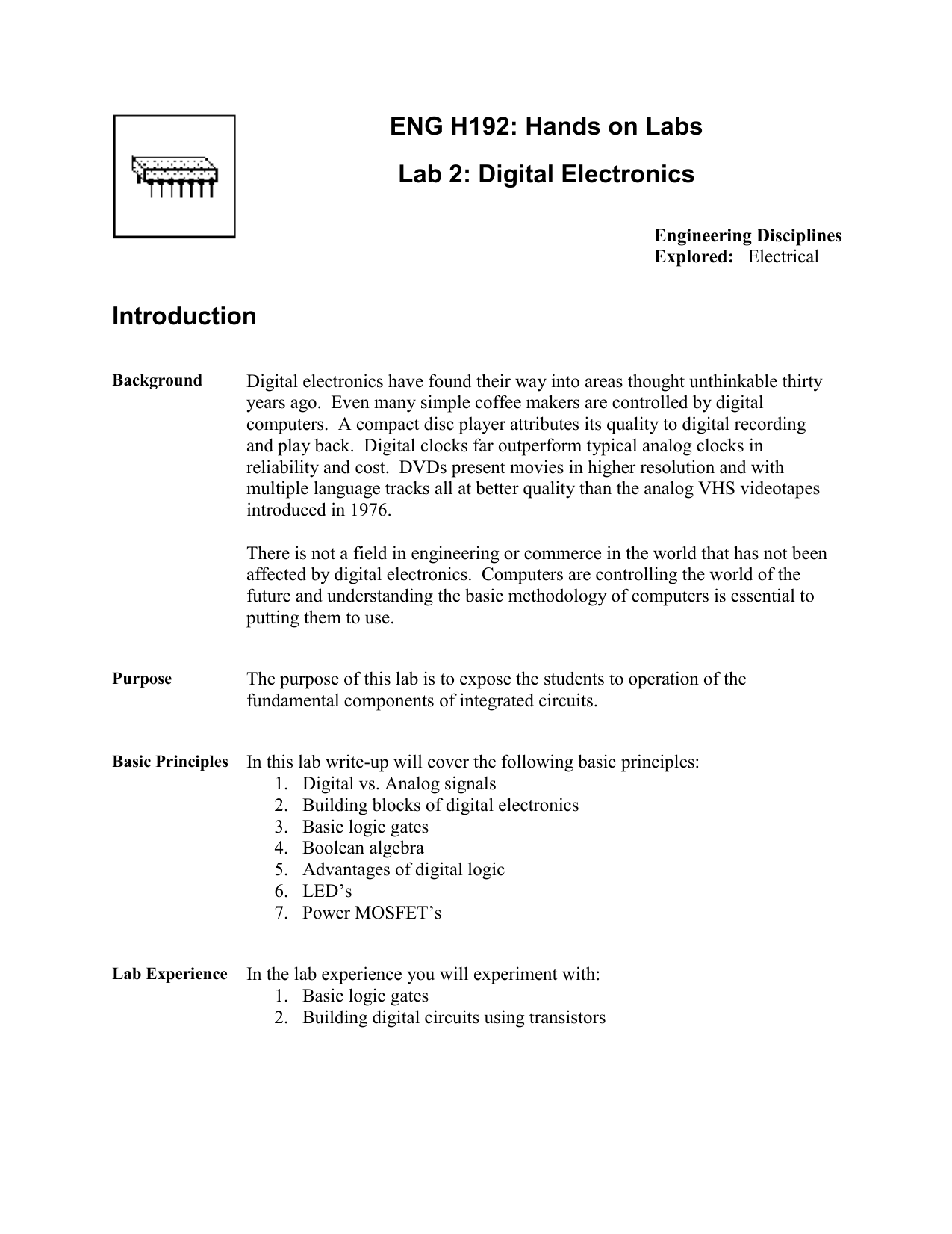 Eng H192 Hands On Labs Lab 2 Digital Electronics Introduction Analog And Circuits