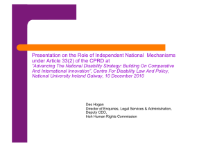 Presentation on the Role of Independent National  Mechanisms