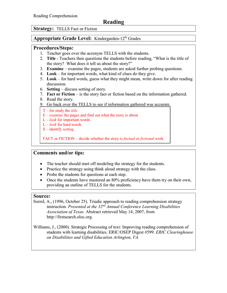 Reading Strategy Appropriate Grade Level