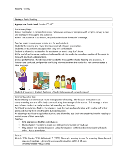 Reading Fluency    ‐ 12 Procedures/Steps: