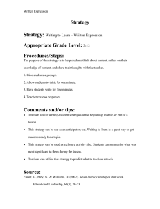 Strategy Strategy: Appropriate Grade Level: Procedures/Steps: