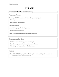 PLEASE Appropriate Grade Level: Procedures/Steps: Comments and/or tips:
