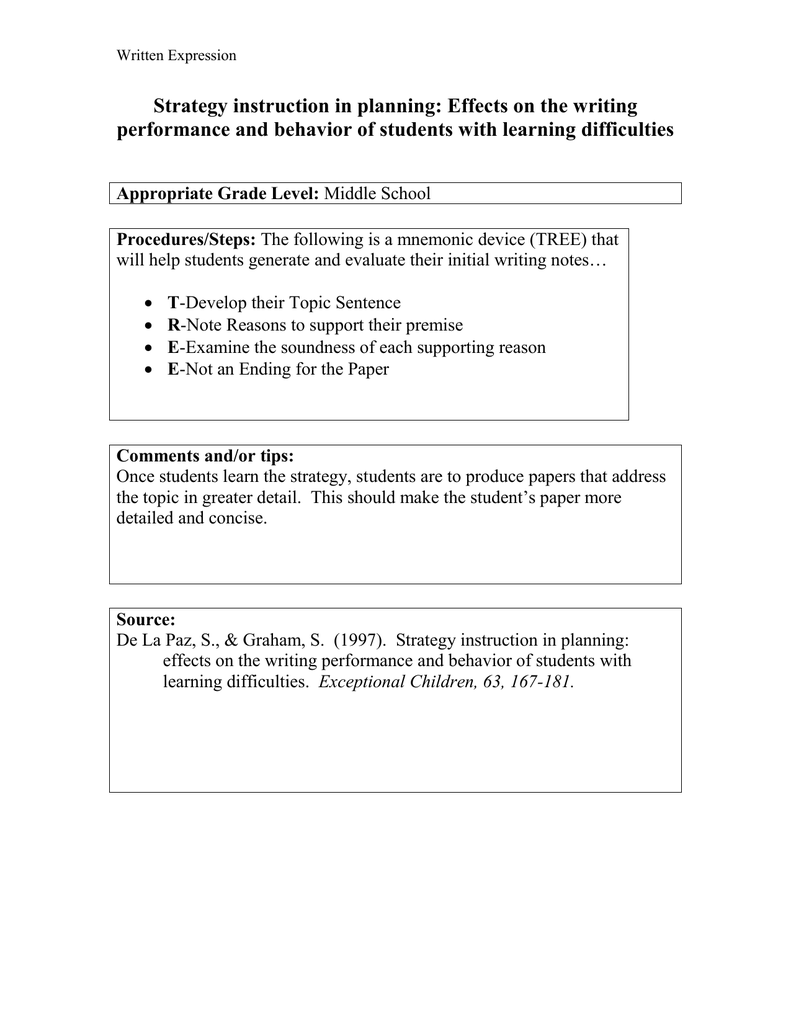 Strategy Instruction In Planning Effects On The Writing