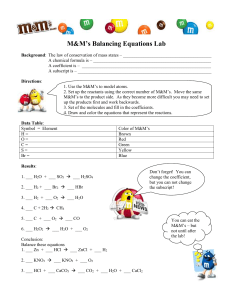 M&M's Balancing Equations Lab