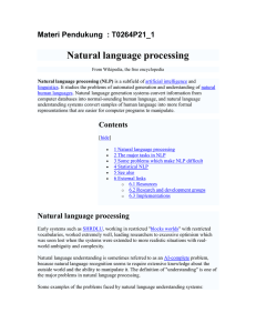 Natural language processing Materi Pendukung  : T0264P21_1