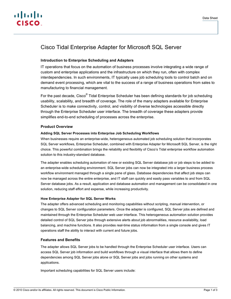 cisco tidal enterprise adapter for microsoft sql server