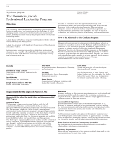The Hornstein Jewish Professional Leadership Program A graduate program Objectives