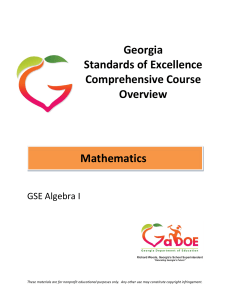 Georgia Standards of Excellence Comprehensive Course Overview