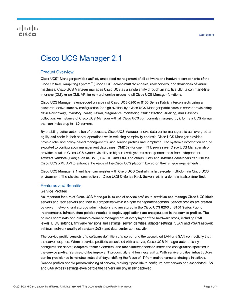 Cisco UCS Manager 2 1 Product Overview