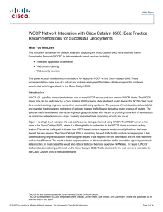 WCCP Network Integration with Cisco Catalyst 6500: Best Practice