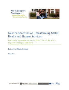 New Perspectives on Transforming States' Health and Human Services Support Strategies Initiative