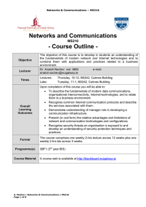 Networks and Communications - Course Outline - MS216