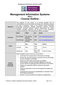 Management Information Systems - Course Outline - MS873