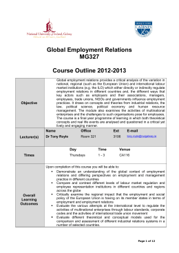 Global Employment Relations MG327 Course Outline 2012-2013