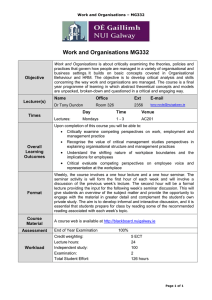 Work and Organisations MG332