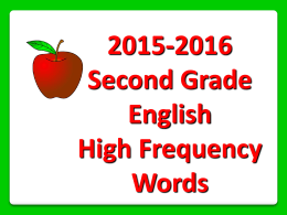 2015-2016 Second Grade English High Frequency