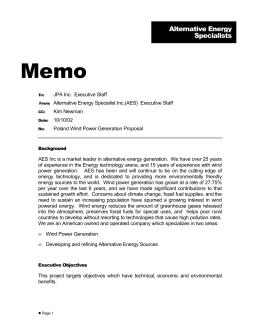 Memo Alternative Energy Specialists