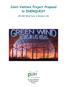 Joint-Venture Project Proposal to ENERQUEST (30 MW Wind Farm in Western US)