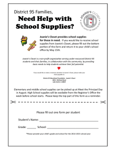 Need Help with School Supplies? District 95 Families,  Joanie's Closet provides school supplies