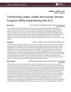 Transforming States' Health and Human Services Programs While Implementing the ACA