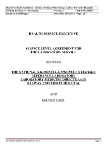 Dept of Medical Microbiology, Division of Clinical Microbiology, Galway University... NSSLRL Service Level Agreement