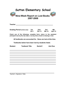Sutton Elementary School Nine-Week Report on Lost Books 2007-2008