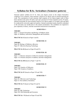 Syllabus for B.Sc. Sericulture (Semester pattern)