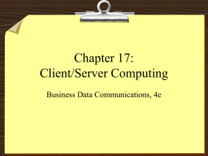 Chapter 17: Client/Server Computing Business Data Communications, 4e