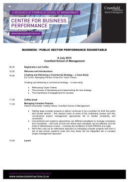 BUSINESS / PUBLIC SECTOR PERFORMANCE ROUNDTABLE 8 July 2015