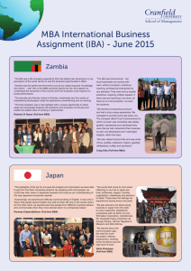 MBA International Business Assignment (IBA) - June 2015 Zambia