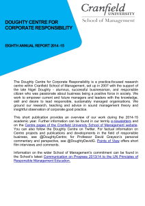 DOUGHTY CENTRE FOR CORPORATE RESPONSIBILITY  EIGHTH ANNUAL REPORT 2014 -15