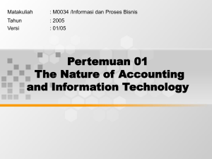 Pertemuan 01 The Nature of Accounting and Information Technology Matakuliah
